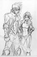 90's Gambit and Rogue by olivernome