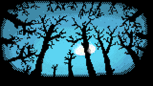 Moon Through The Trees PixelArt (1600x900) by RoboPixels