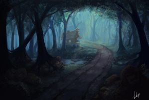 Cabin in the forest by EshiraArt