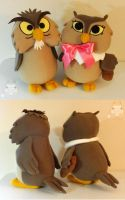 Archimedes and lady owl plush set by JanellesPlushies