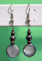 Jet Shell - Pearl Earrings by BloodRed-Orchid