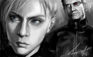 Jill and Wesker by xiaofeihui