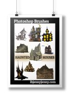 Free Haunted Houses Photoshop Brushes by ibjennyjenny