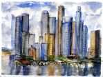 Singapore Skyline Sketch by RandySprout