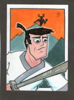 Samurai Jack to the Rescue sketch card by johnnyism