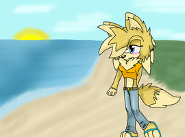 *collab* Walking on the beach by SonilverFanForever