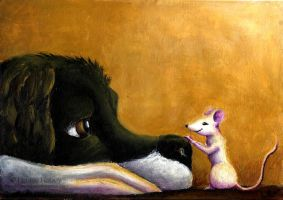 Dog and Mouse by louise-rabey