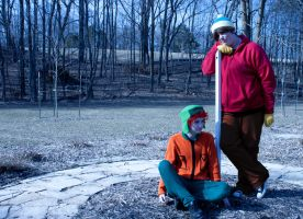 SOUTH PARK:  Kyle and Cartman - Leaning Pole by krazorspoon