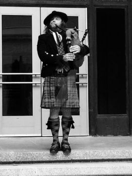 Playing the bag pipes by Artist-MDS