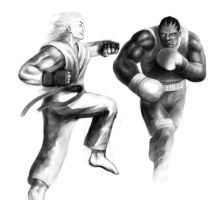 Ken vs Balrog by Lateart