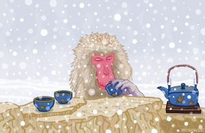 Snow Monkey Drinking Hot Tea 2 by McQuade