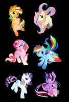 Chibi Rainbow Power Designs by FuyusFox