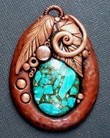 Turquoise and Copper Pendant by MandarinMoon