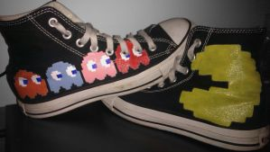 Custom Converse :: Pacman by ninja-hamsters