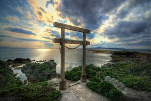 Torii Gate to Ie Island by Uchinan-Chu