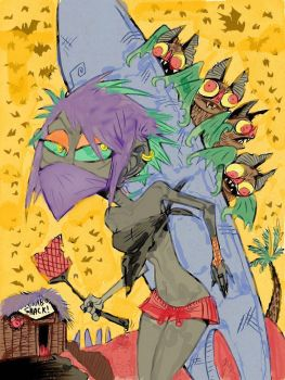 Board Walk Bat attack colored by toetalgirfanatik