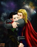 Who needs a hug? Loki-Thor by Kuolema-Hochrot