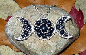 Hematite Triple Moon Necklace by MoonLitCreations