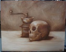 Skull and Coffee Grinder by zophie