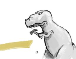 Tyrannosaurus using a hammer by elguapo6