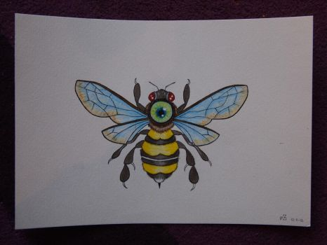 All Seeing Bee tattoo commission for B by MotherLickerr