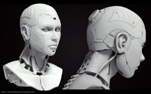 Cyborg Female bust Grey render 1 by lancewilkinson