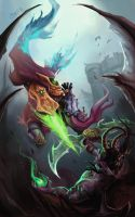 Clash - Illidan vs Zeratul by mythgarnets
