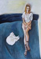 Selfportrait on Bed with Cat II by Stardust-Splendor