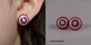 Captain America Earrings by ChibiSilverWings