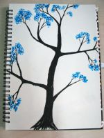 Blue flowers in tree by ExcaliburZ