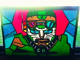 CROSSHAIRS stain glass school artwork project:) by cybertronianwarlegnd