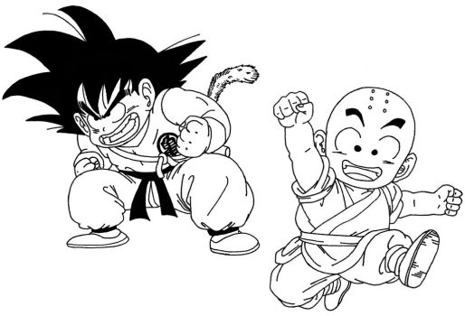 Kid Goku And Krillin by sparten69r