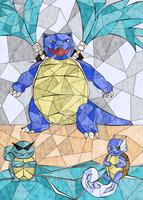 Stained Glass Pokedex: #007-#009 by Joceysheep