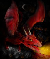 Smaug above Ezgarot by VisAnastasis