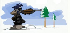-Sketch- Sniper in the snow by TheonknownKLAW