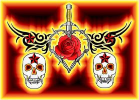 fire skulls and roses by moatswimmer-inugrl