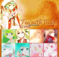 Tea with Miku Icons by: AriDix by AriEdiciones