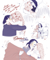 OpheliaxJohn - Lovers Sketches 1 by RedPassion