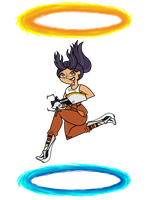 Florence as Chell (Portal) - PC Game collab by Artistic-Ember