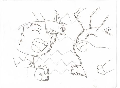 T.K and Patamon Lineart by Magicant01