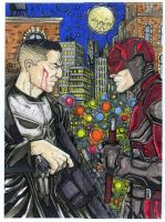 Punisher vs Daredevil four sketch card puzzle by mdavidct
