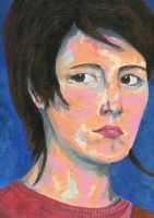 Acrylics self portrait by pollywriggle