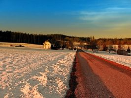 Country road through winter wonderland by patrickjobst