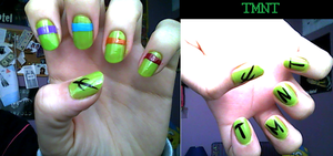 TMNT inspired nails by aita92