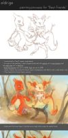 Painting Process for 'Best Friends' by eldrige