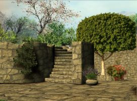 3d Background - Stone garden by Sheona-Stock
