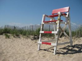 lifeguard chair on beach 0563 by Moon-WillowStock