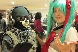 Ghost (COD MW2) and Hatsune Miku by PrincessOfCrime