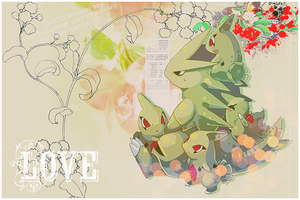 Tyranitar and Larvitar - Pokemon by Setsuna-sama13