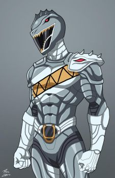 Silver Spinosaurus Ranger commission by phil-cho